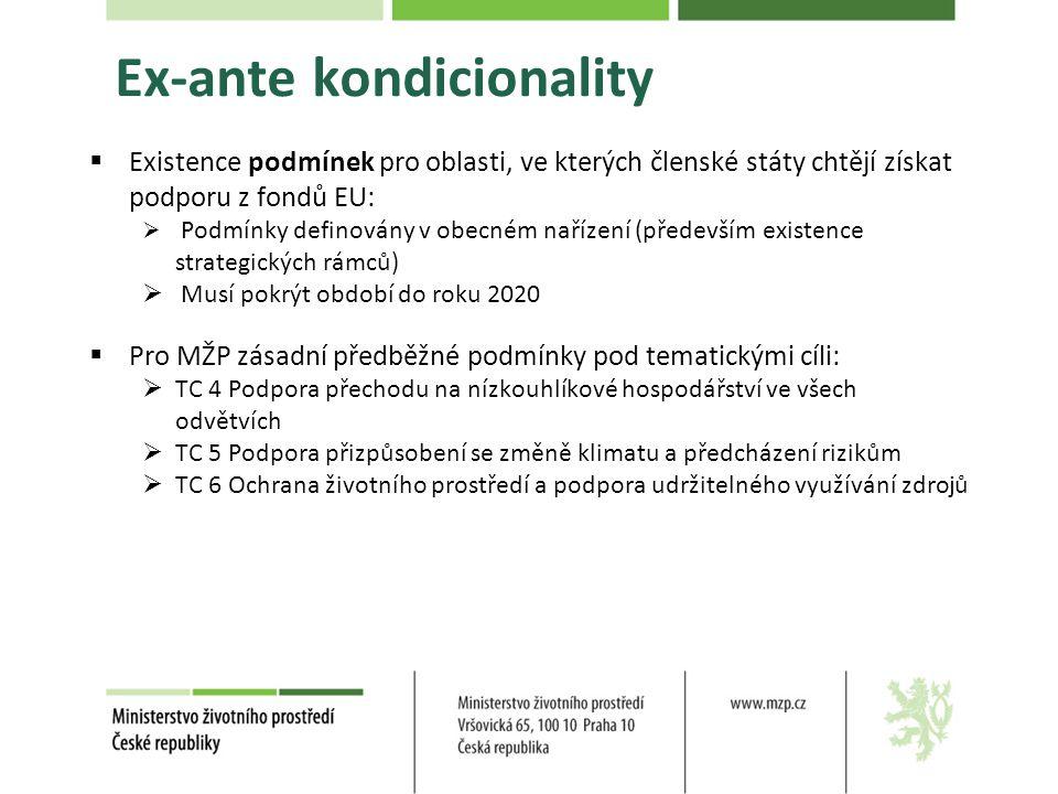 Ex-ante kondicionality  Existence podmínek pro oblasti, ve kterých členské státy chtějí získat podporu z fondů EU:  Podmínky definovány v obecném nařízení (především existence strategických rámců)  Musí pokrýt období do roku 2020  Pro MŽP zásadní předběžné podmínky pod tematickými cíli:  TC 4 Podpora přechodu na nízkouhlíkové hospodářství ve všech odvětvích  TC 5 Podpora přizpůsobení se změně klimatu a předcházení rizikům  TC 6 Ochrana životního prostředí a podpora udržitelného využívání zdrojů