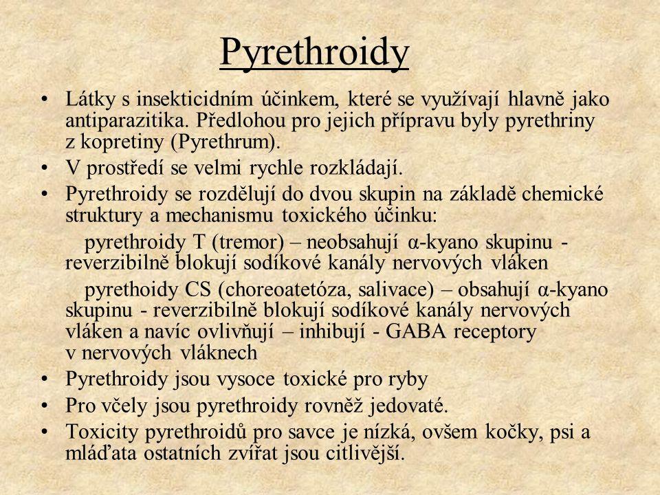 Pyrethroidy Látky s insekticidním účinkem, které se využívají hlavně jako antiparazitika. Předlohou pro jejich přípravu byly pyrethriny z kopretiny (P