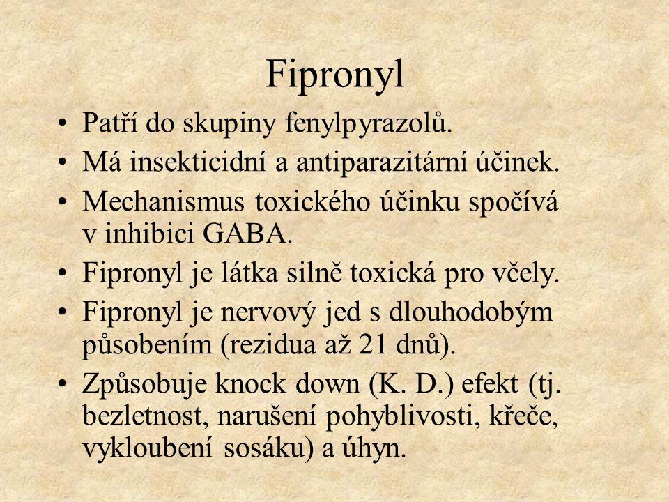 Fipronyl Patří do skupiny fenylpyrazolů. Má insekticidní a antiparazitární účinek. Mechanismus toxického účinku spočívá v inhibici GABA. Fipronyl je l