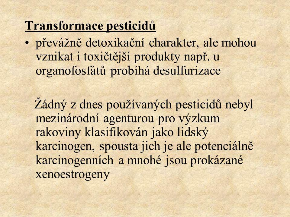 Transformace pesticidů převážně detoxikační charakter, ale mohou vznikat i toxičtější produkty např. u organofosfátů probíhá desulfurizace Žádný z dne