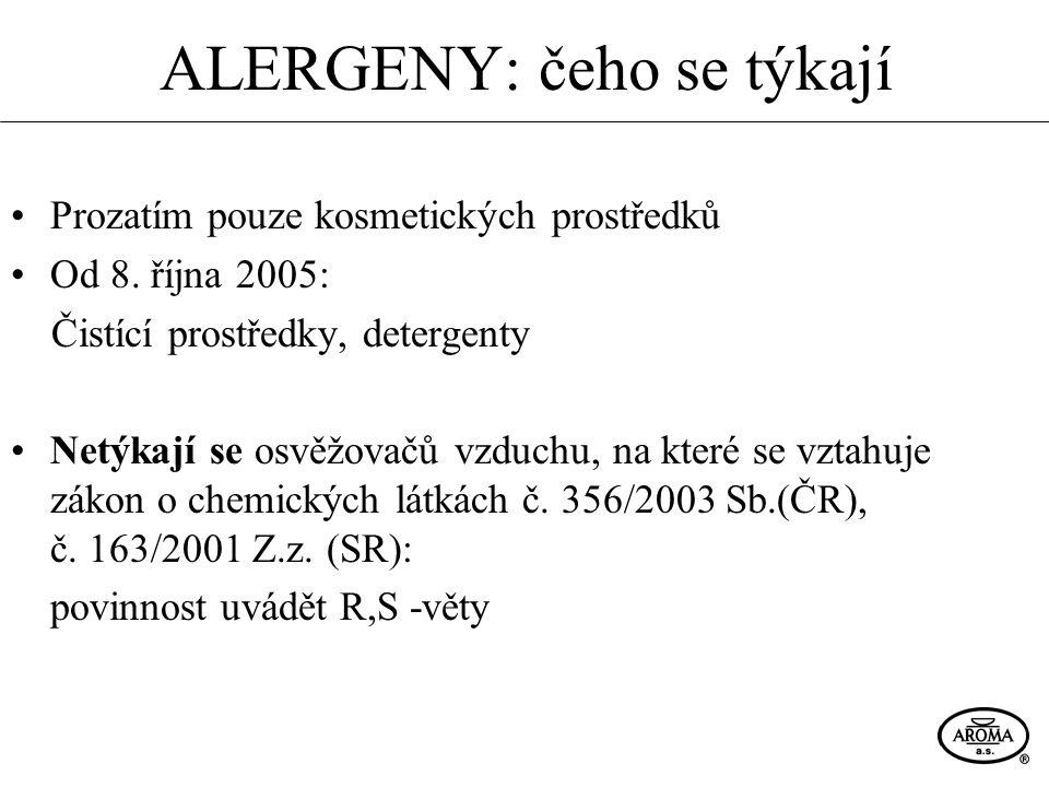ALERGENY: čeho se týkají Prozatím pouze kosmetických prostředků Od 8. října 2005: Čistící prostředky, detergenty Netýkají se osvěžovačů vzduchu, na kt