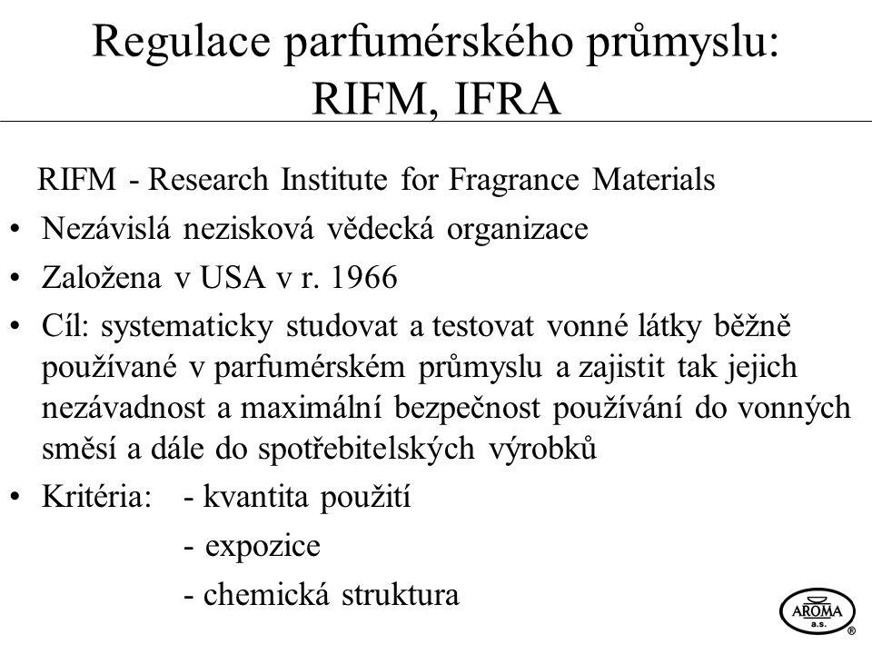 Regulace parfumérského průmyslu: RIFM, IFRA RIFM - Research Institute for Fragrance Materials Nezávislá nezisková vědecká organizace Založena v USA v