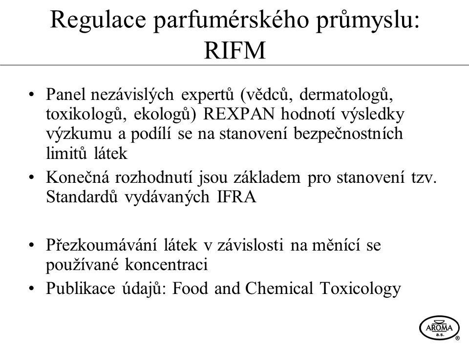 Shrnutí Regulace průmyslu vonných látek již více než 30 let: RIFM, IFRA Alergeny → citelný zásah do fungování parfumérského průmyslu Do budoucna: - Narůstající počet omezených a zakázaných látek - Přísnější kriteria testování látek → čím dál nižší přípustné limity