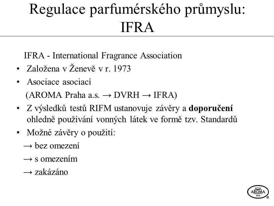Regulace parfumérského průmyslu: IFRA IFRA - International Fragrance Association Založena v Ženevě v r. 1973 Asociace asociací (AROMA Praha a.s. → DVR