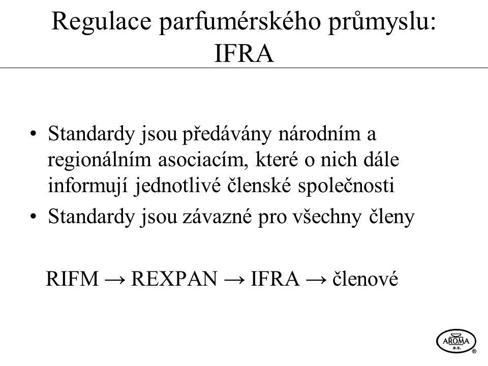 Regulace parfumérského průmyslu: IFRA Standardy jsou předávány národním a regionálním asociacím, které o nich dále informují jednotlivé členské společ