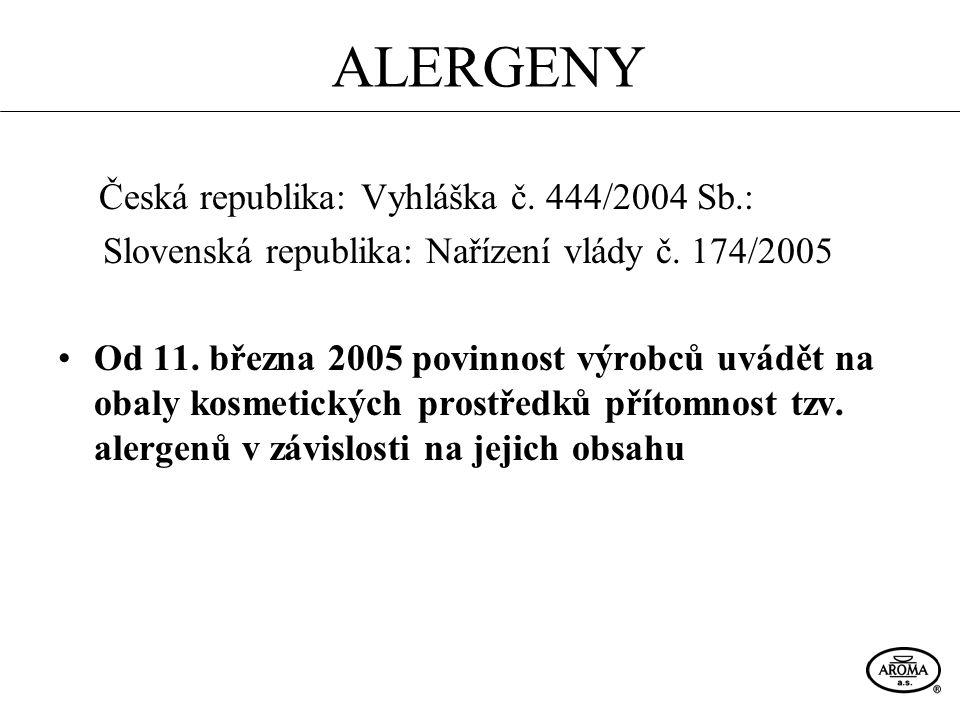 ALERGENY Česká republika: Vyhláška č. 444/2004 Sb.: Slovenská republika: Nařízení vlády č. 174/2005 Od 11. března 2005 povinnost výrobců uvádět na oba