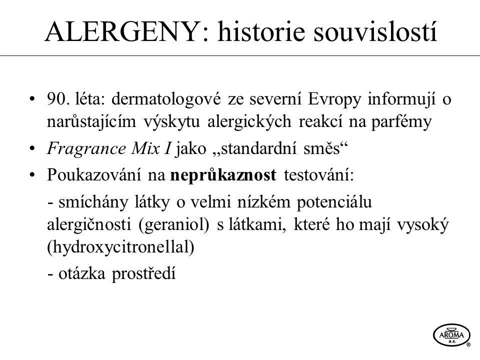 ALERGENY: historie souvislostí 90. léta: dermatologové ze severní Evropy informují o narůstajícím výskytu alergických reakcí na parfémy Fragrance Mix