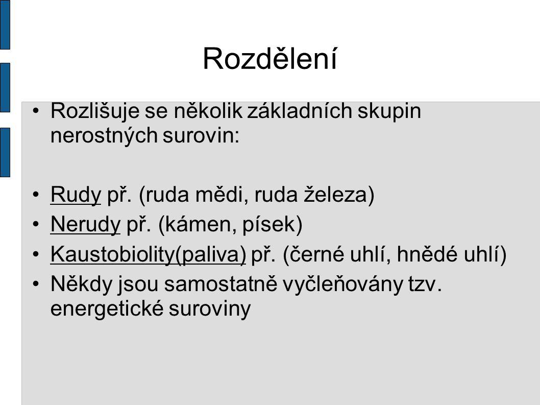 Rozdělení Rozlišuje se několik základních skupin nerostných surovin: Rudy př.