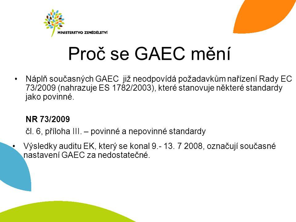 Proč se GAEC mění Náplň současných GAEC již neodpovídá požadavkům nařízení Rady EC 73/2009 (nahrazuje ES 1782/2003), které stanovuje některé standardy