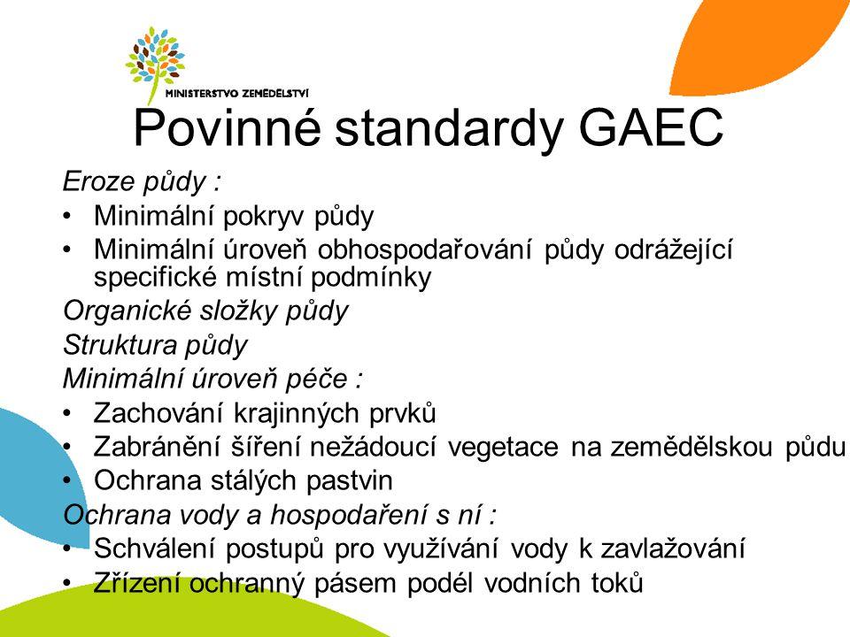 Povinné standardy GAEC Eroze půdy : Minimální pokryv půdy Minimální úroveň obhospodařování půdy odrážející specifické místní podmínky Organické složky