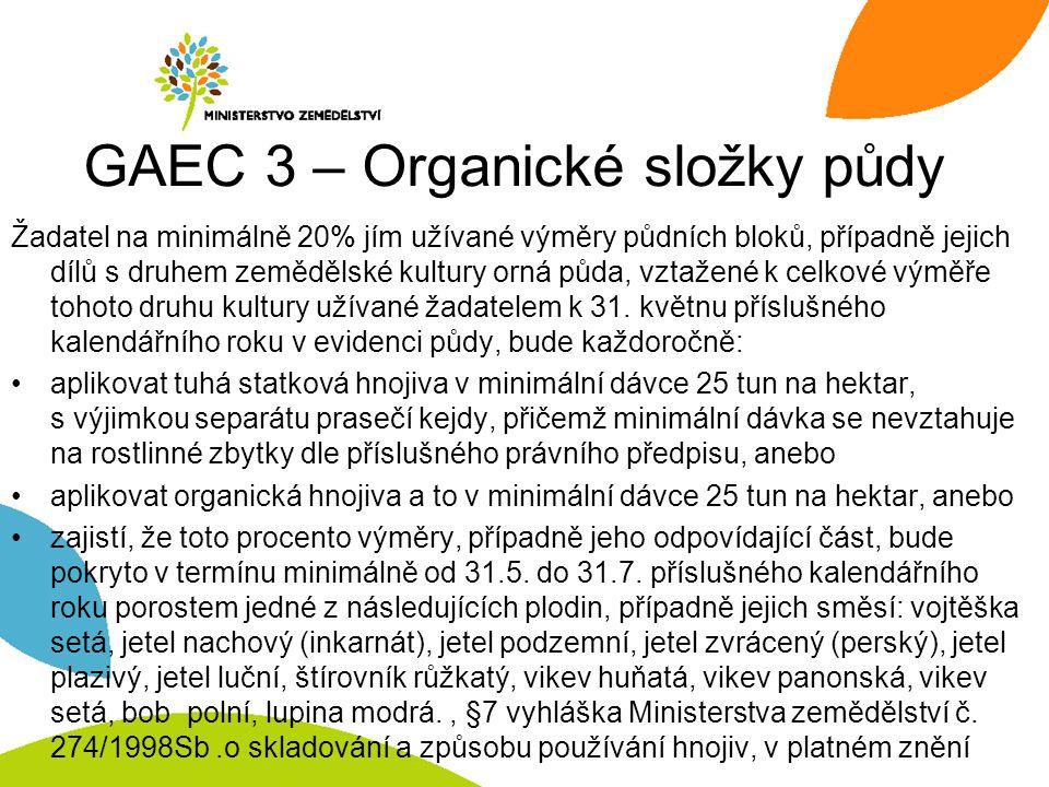 GAEC 3 – Organické složky půdy Žadatel na minimálně 20% jím užívané výměry půdních bloků, případně jejich dílů s druhem zemědělské kultury orná půda,