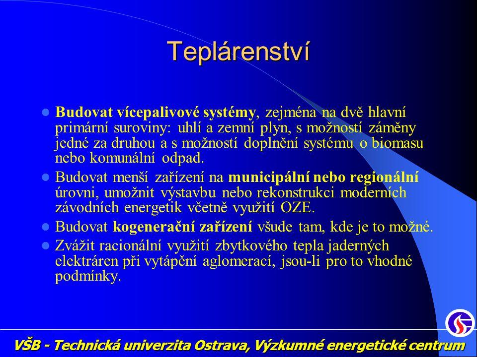 VŠB - Technická univerzita Ostrava, Výzkumné energetické centrum Teplárenství Budovat vícepalivové systémy, zejména na dvě hlavní primární suroviny: u