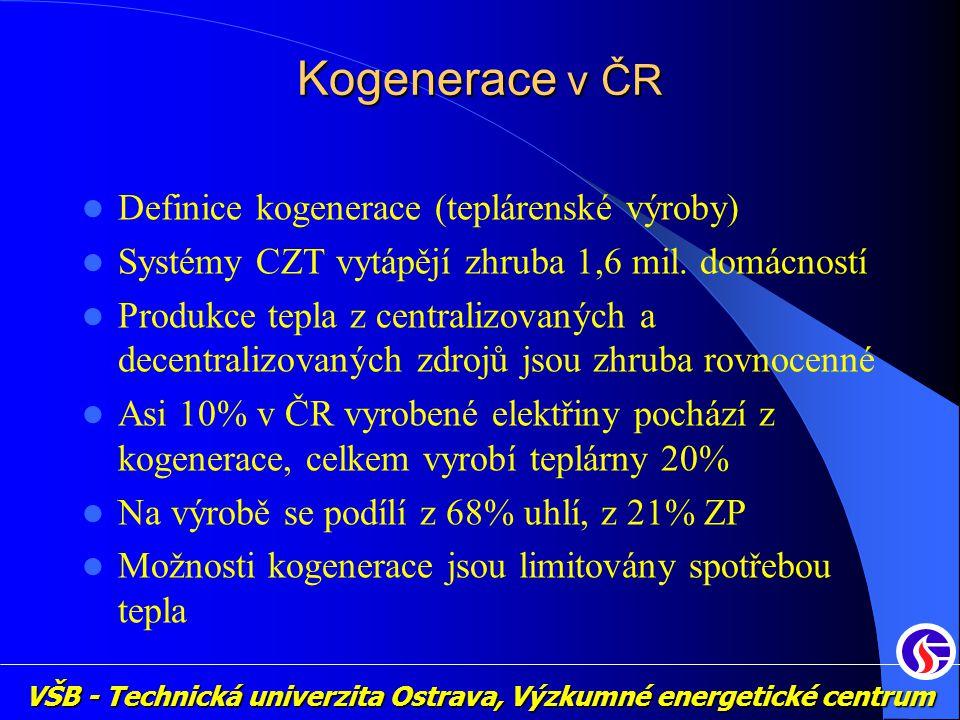 VŠB - Technická univerzita Ostrava, Výzkumné energetické centrum Kogenerace v ČR Definice kogenerace (teplárenské výroby) Systémy CZT vytápějí zhruba 1,6 mil.