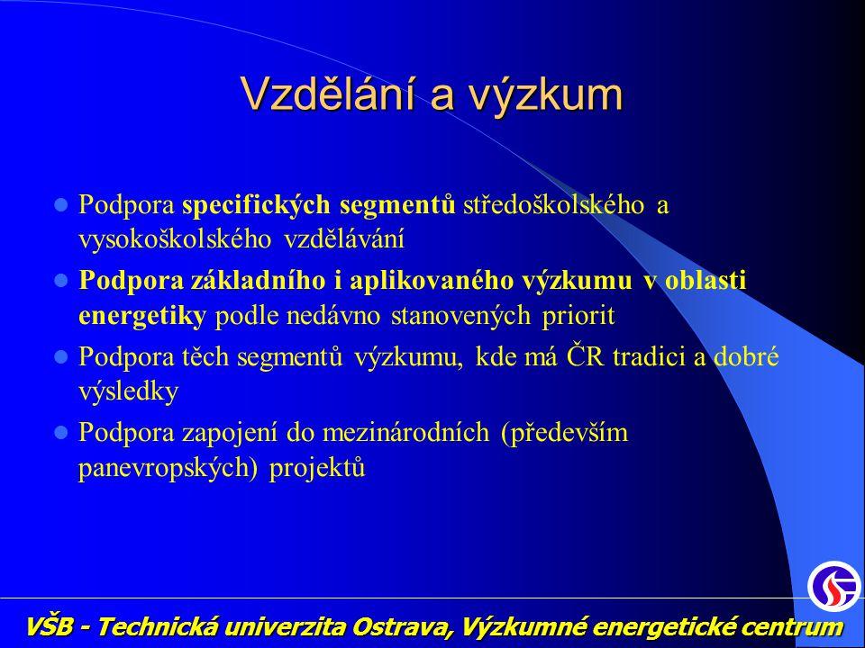 VŠB - Technická univerzita Ostrava, Výzkumné energetické centrum Vzdělání a výzkum Podpora specifických segmentů středoškolského a vysokoškolského vzdělávání Podpora základního i aplikovaného výzkumu v oblasti energetiky podle nedávno stanovených priorit Podpora těch segmentů výzkumu, kde má ČR tradici a dobré výsledky Podpora zapojení do mezinárodních (především panevropských) projektů