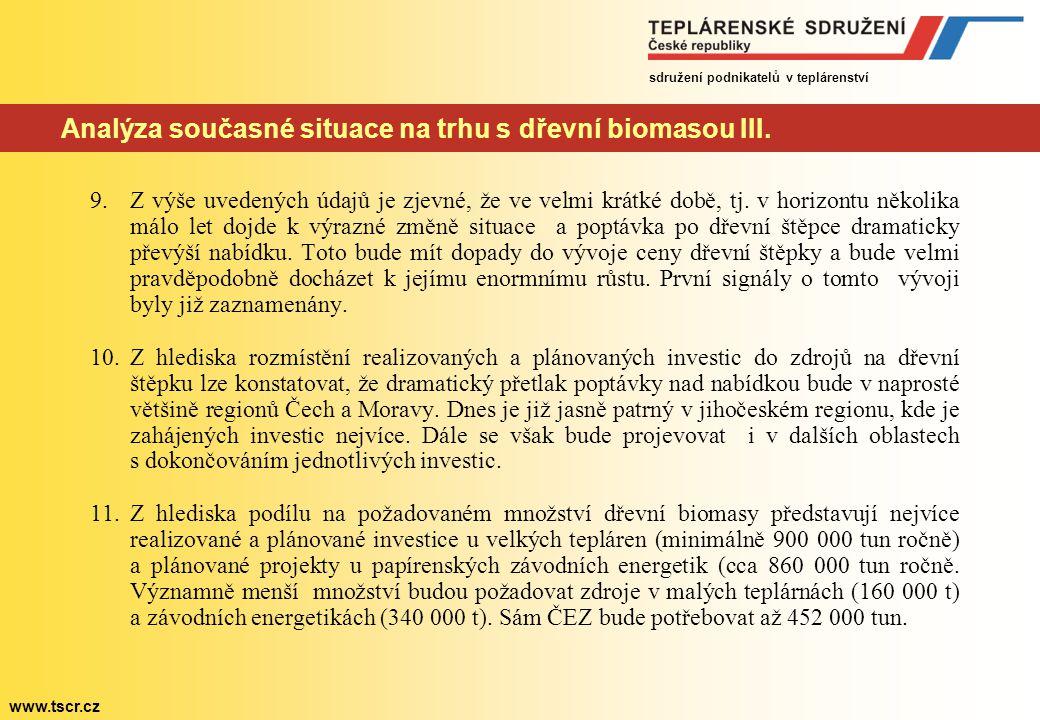 sdružení podnikatelů v teplárenství www.tscr.cz Analýza současné situace na trhu s dřevní biomasou III. 9.Z výše uvedených údajů je zjevné, že ve velm