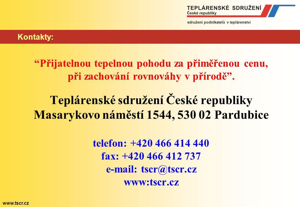"""sdružení podnikatelů v teplárenství www.tscr.cz Kontakty: """"Přijatelnou tepelnou pohodu za přiměřenou cenu, při zachování rovnováhy v přírodě"""". Tepláre"""