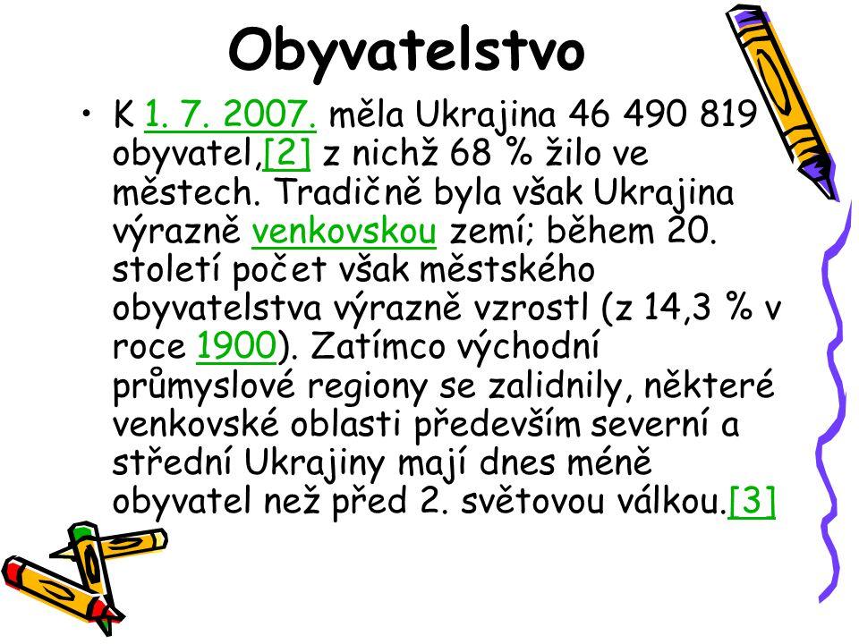Obyvatelstvo K 1. 7. 2007. měla Ukrajina 46 490 819 obyvatel,[2] z nichž 68 % žilo ve městech. Tradičně byla však Ukrajina výrazně venkovskou zemí; bě