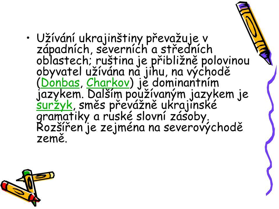 Užívání ukrajinštiny převažuje v západních, severních a středních oblastech; ruština je přibližně polovinou obyvatel užívána na jihu, na východě (Donb