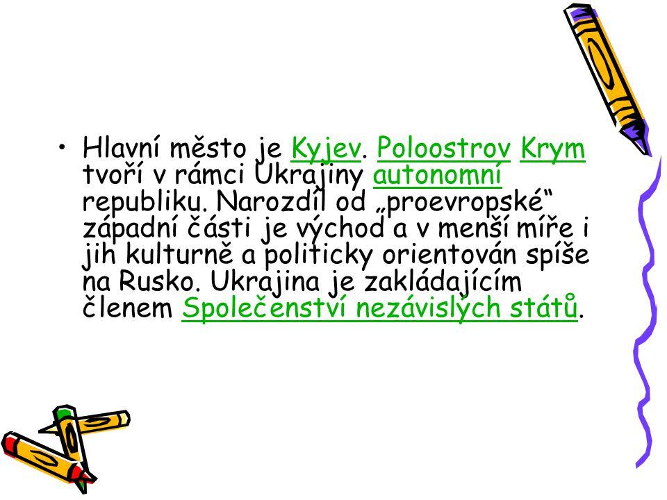 """Hlavní město je Kyjev. Poloostrov Krym tvoří v rámci Ukrajiny autonomní republiku. Narozdíl od """"proevropské"""" západní části je východ a v menší míře i"""