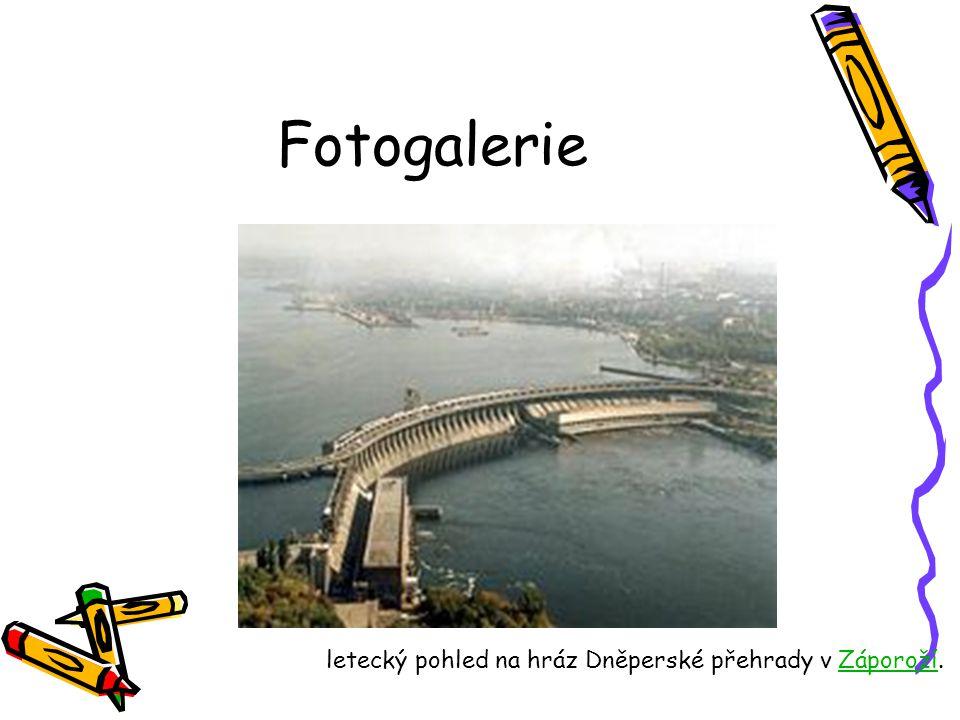 Fotogalerie letecký pohled na hráz Dněperské přehrady v Záporoží.Záporoží