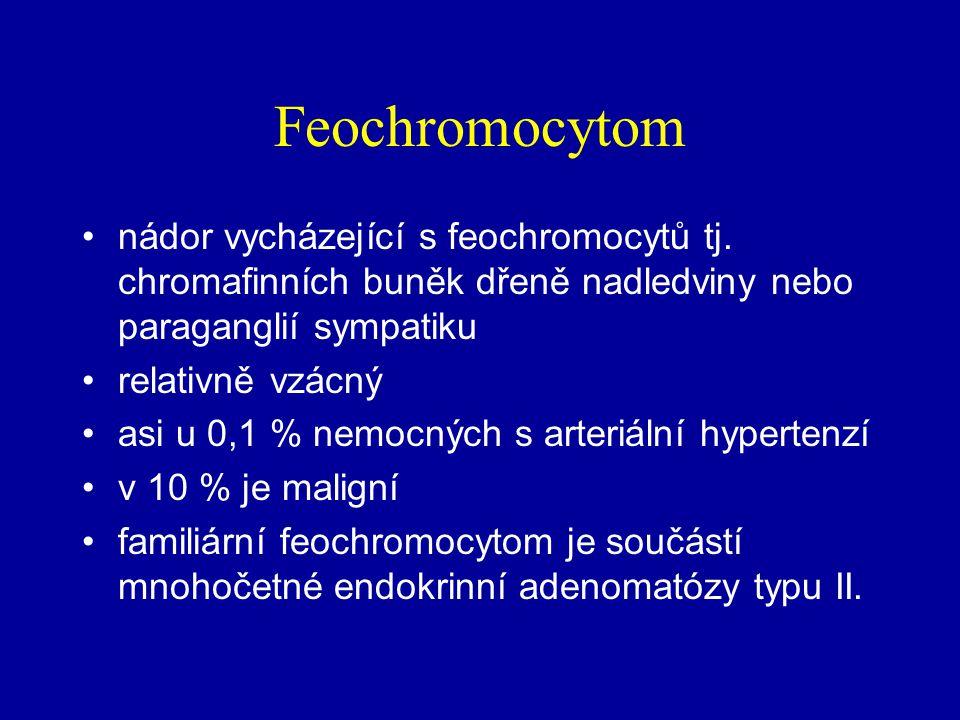 FEOCHROMOCYTOM Vychází z dřeně nadledvin a sympatických ganglií (paragangliomy) Chemodektom: z karotidových tělísek Ganglioneurom: z paragangliových s