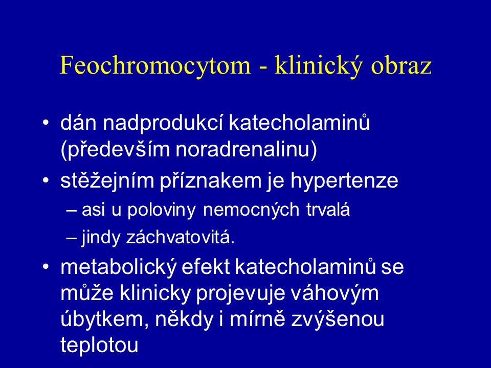 Feochromocytom nádor vycházející s feochromocytů tj. chromafinních buněk dřeně nadledviny nebo paraganglií sympatiku relativně vzácný asi u 0,1 % nemo