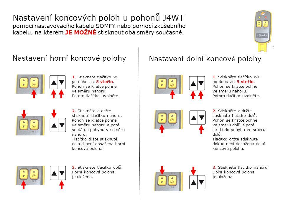 Nastavení koncových poloh u pohonů J4WT pomocí nastavovacího kabelu SOMFY nebo pomocí zkušebního kabelu, na kterém JE MOŽNÉ stisknout oba směry současně.