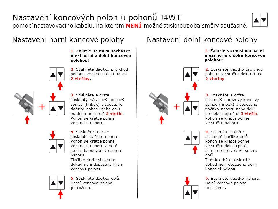 Nastavení koncových poloh u pohonů J4WT pomocí nastavovacího kabelu, na kterém NENÍ možné stisknout oba směry současně.