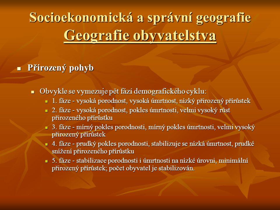 Socioekonomická a správní geografie Geografie obyvatelstva Dynamika obyvatelstva Dynamika obyvatelstva Mechanický pohyb Mechanický pohyb A.