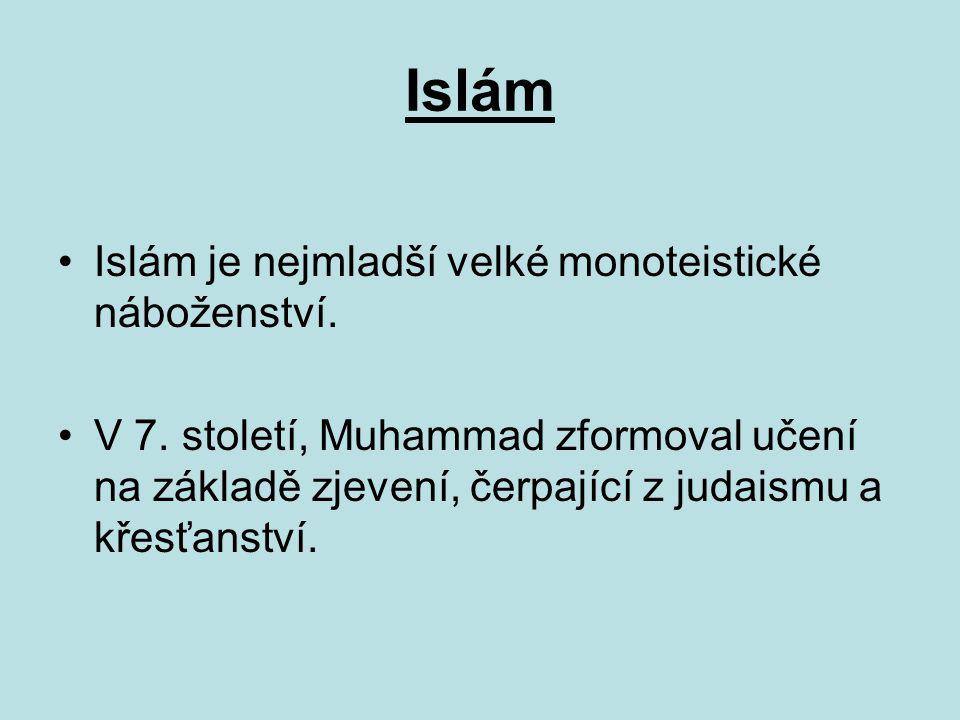 Islám Základní knihou islámu je Korán, veršovaná sbírka božích sdělení věřícím.