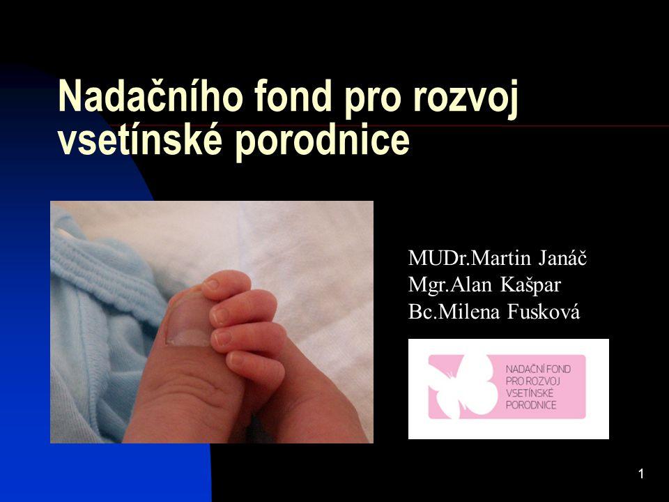 1 Nadačního fond pro rozvoj vsetínské porodnice MUDr.Martin Janáč Mgr.Alan Kašpar Bc.Milena Fusková