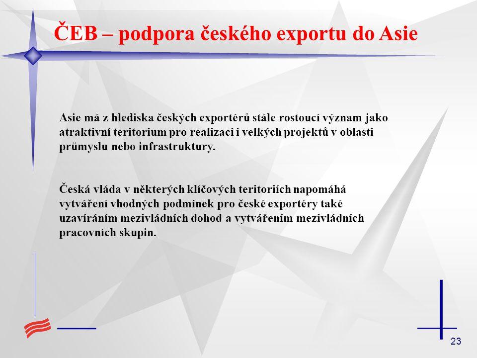 23 ČEB – podpora českého exportu do Asie Asie má z hlediska českých exportérů stále rostoucí význam jako atraktivní teritorium pro realizaci i velkých projektů v oblasti průmyslu nebo infrastruktury.