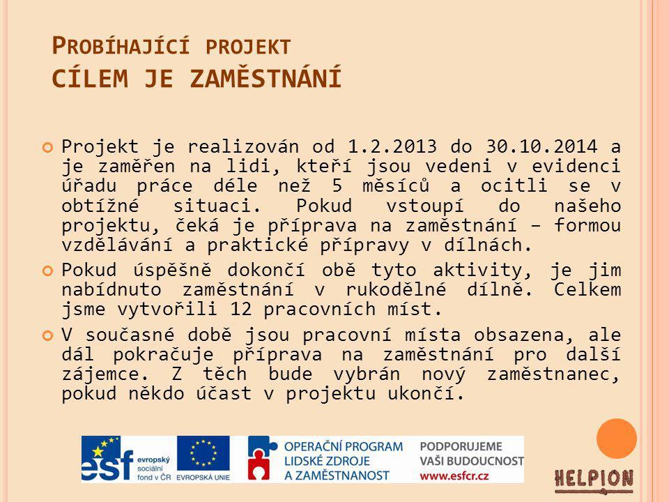 P ROBÍHAJÍCÍ PROJEKT CÍLEM JE ZAMĚSTNÁNÍ Projekt je realizován od 1.2.2013 do 30.10.2014 a je zaměřen na lidi, kteří jsou vedeni v evidenci úřadu práce déle než 5 měsíců a ocitli se v obtížné situaci.
