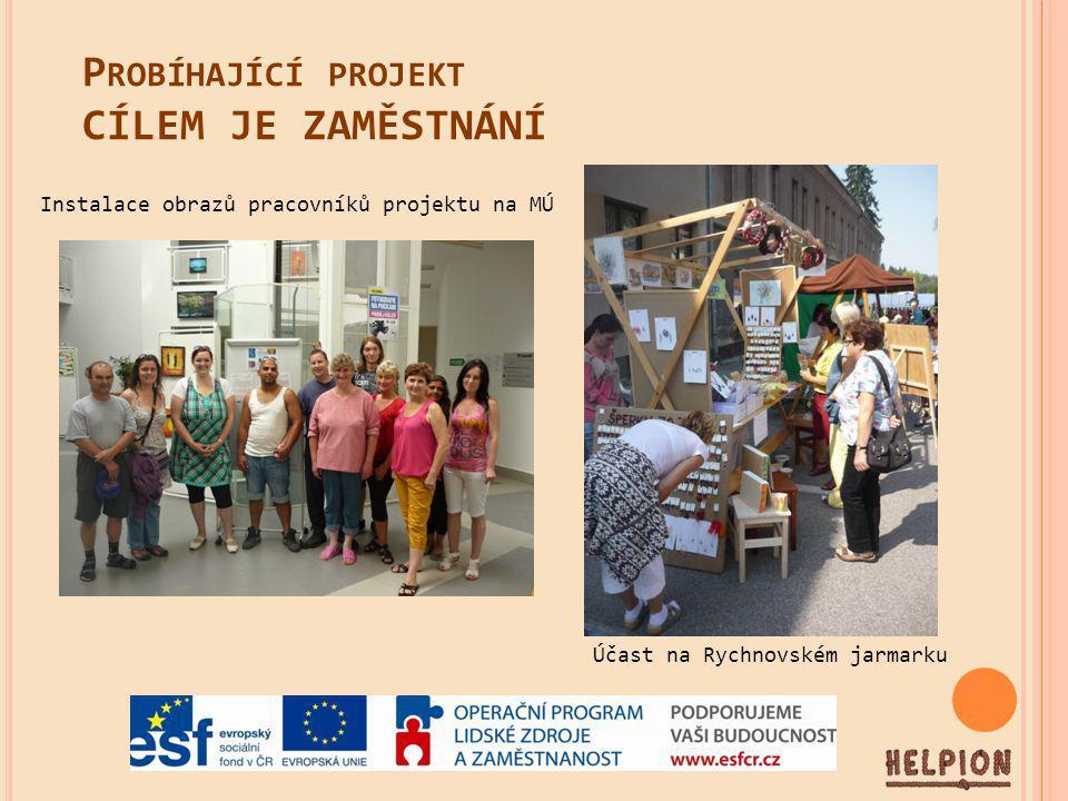 P ROBÍHAJÍCÍ PROJEKT CÍLEM JE ZAMĚSTNÁNÍ Instalace obrazů pracovníků projektu na MÚ Účast na Rychnovském jarmarku