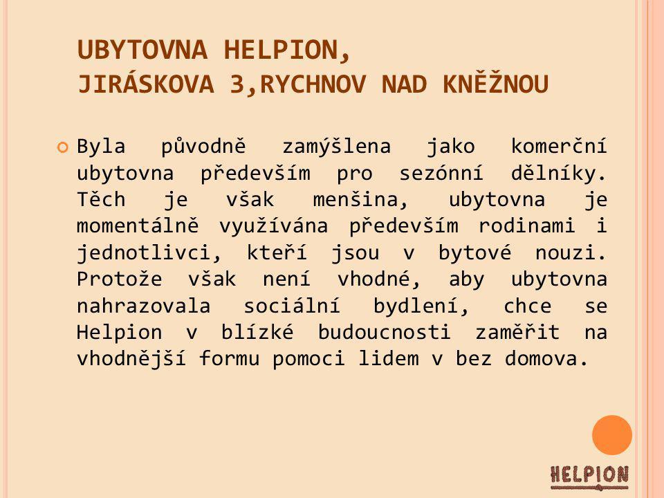 UBYTOVNA HELPION, JIRÁSKOVA 3,RYCHNOV NAD KNĚŽNOU Byla původně zamýšlena jako komerční ubytovna především pro sezónní dělníky.