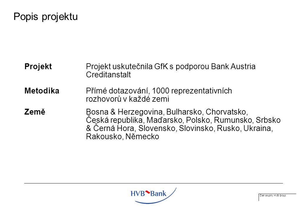 Člen skupiny HVB Group Popis projektu Projekt Projekt uskutečnila GfK s podporou Bank Austria Creditanstalt MetodikaPřímé dotazování, 1000 reprezentativních rozhovorů v každé zemi ZeměBosna & Herzegovina, Bulharsko, Chorvatsko, Česká republika, Maďarsko, Polsko, Rumunsko, Srbsko & Černá Hora, Slovensko, Slovinsko, Rusko, Ukraina, Rakousko, Německo