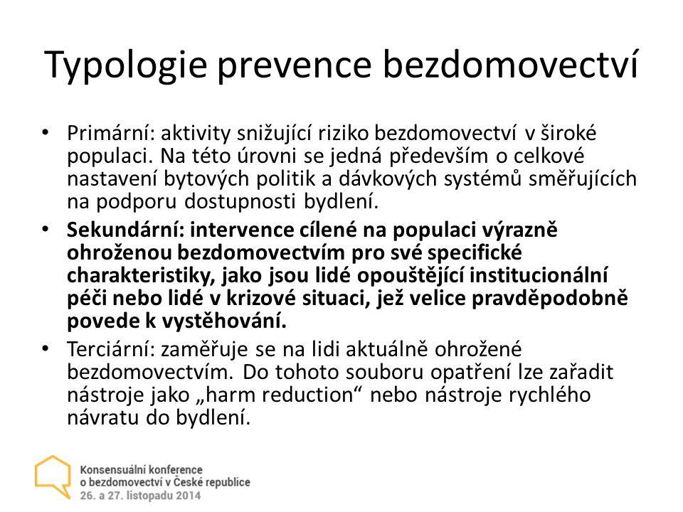 Typologie prevence bezdomovectví Primární: aktivity snižující riziko bezdomovectví v široké populaci.