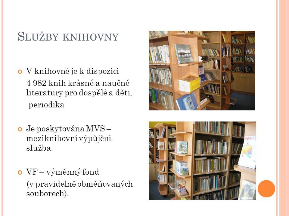 S LUŽBY KNIHOVNY V knihovně je k dispozici 4 982 knih krásné a naučné literatury pro dospělé a děti, periodika Je poskytována MVS – meziknihovní výpůjční služba.