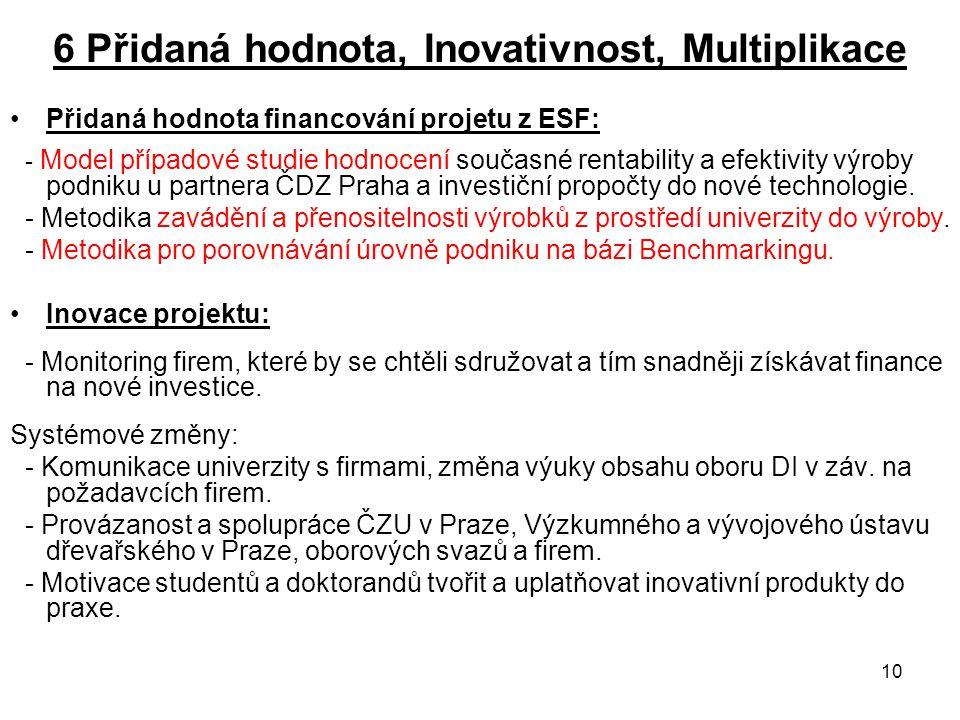 10 6 Přidaná hodnota, Inovativnost, Multiplikace Přidaná hodnota financování projetu z ESF: - Model případové studie hodnocení současné rentability a