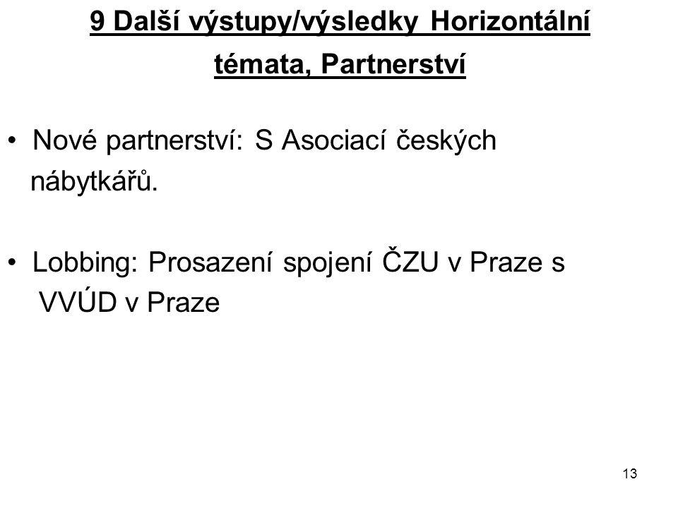13 9 Další výstupy/výsledky Horizontální témata, Partnerství Nové partnerství: S Asociací českých nábytkářů. Lobbing: Prosazení spojení ČZU v Praze s