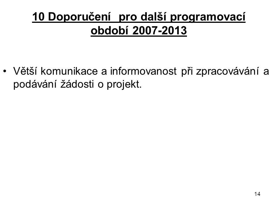 14 10 Doporučení pro další programovací období 2007-2013 Větší komunikace a informovanost při zpracovávání a podávání žádosti o projekt.