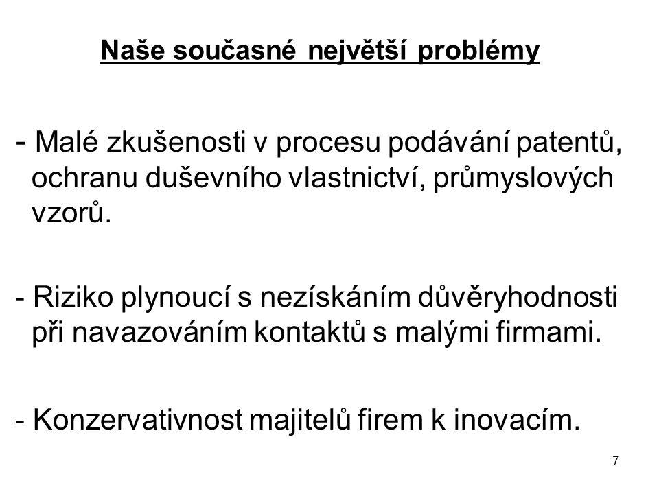 7 Naše současné největší problémy - Malé zkušenosti v procesu podávání patentů, ochranu duševního vlastnictví, průmyslových vzorů. - Riziko plynoucí s