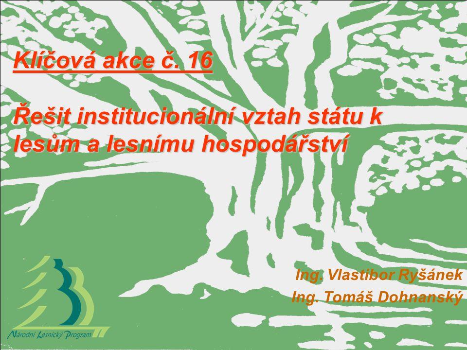 Klíčová akce č. 16 Řešit institucionální vztah státu k lesům a lesnímu hospodářství Ing. Vlastibor Ryšánek Ing. Tomáš Dohnanský