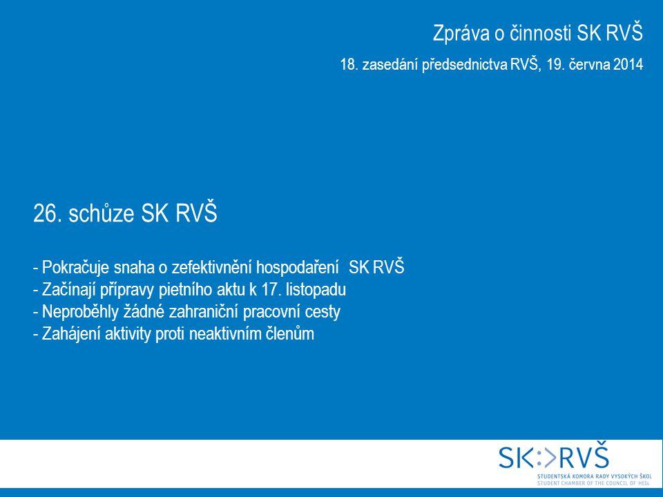 26. schůze SK RVŠ - Pokračuje snaha o zefektivnění hospodaření SK RVŠ - Začínají přípravy pietního aktu k 17. listopadu - Neproběhly žádné zahraniční