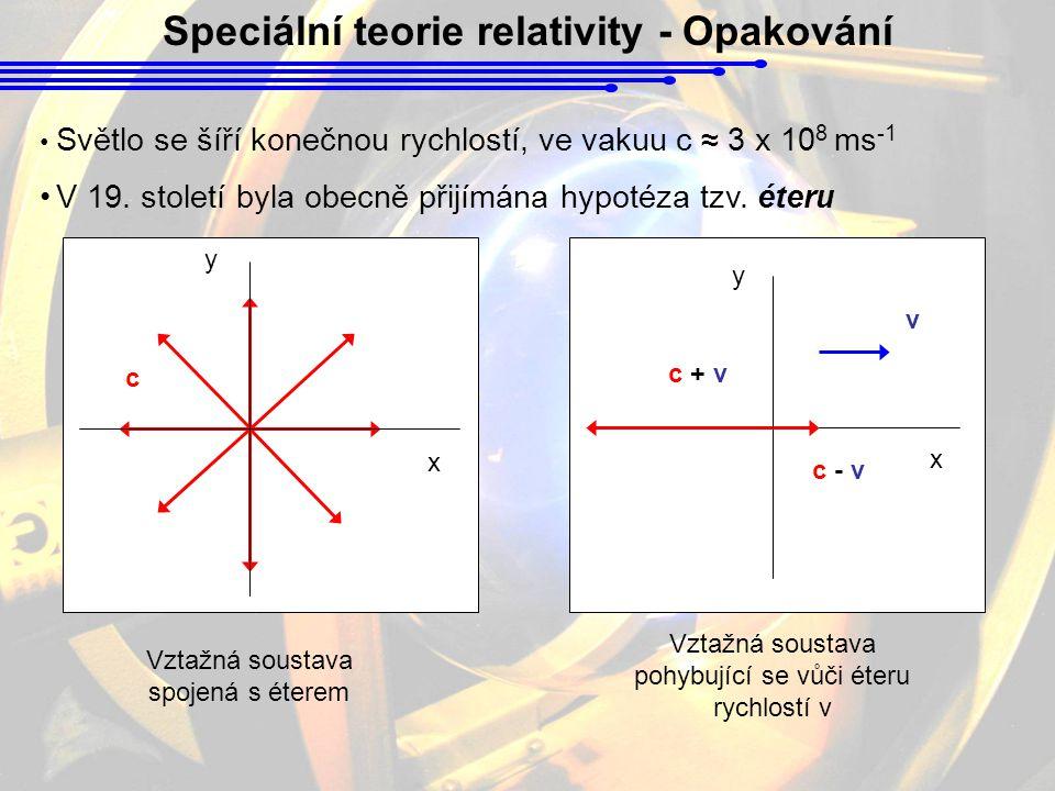 Speciální teorie relativity - Opakování Světlo se šíří konečnou rychlostí, ve vakuu c ≈ 3 x 10 8 ms -1 V 19.