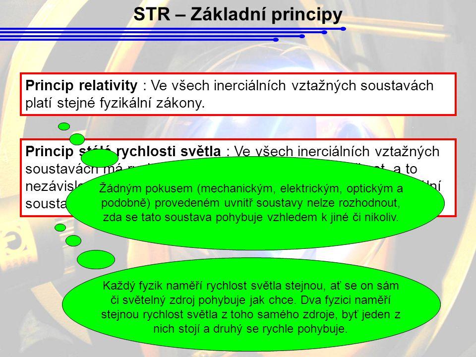 STR – Základní principy Princip relativity : Ve všech inerciálních vztažných soustavách platí stejné fyzikální zákony.
