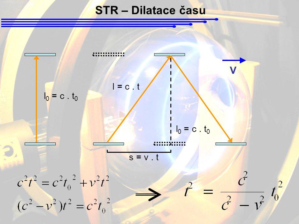 STR – Dilatace času ● Mezony π + jsou kladně nabité elementární částice o hmotnosti 273x větší než hmot- nost elektronu.