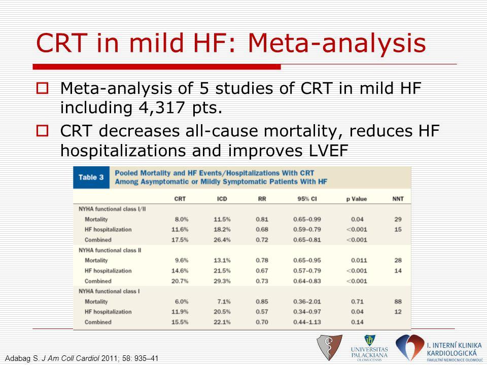 CRT in mild HF: Meta-analysis  Meta-analysis of 5 studies of CRT in mild HF including 4,317 pts.  CRT decreases all-cause mortality, reduces HF hosp