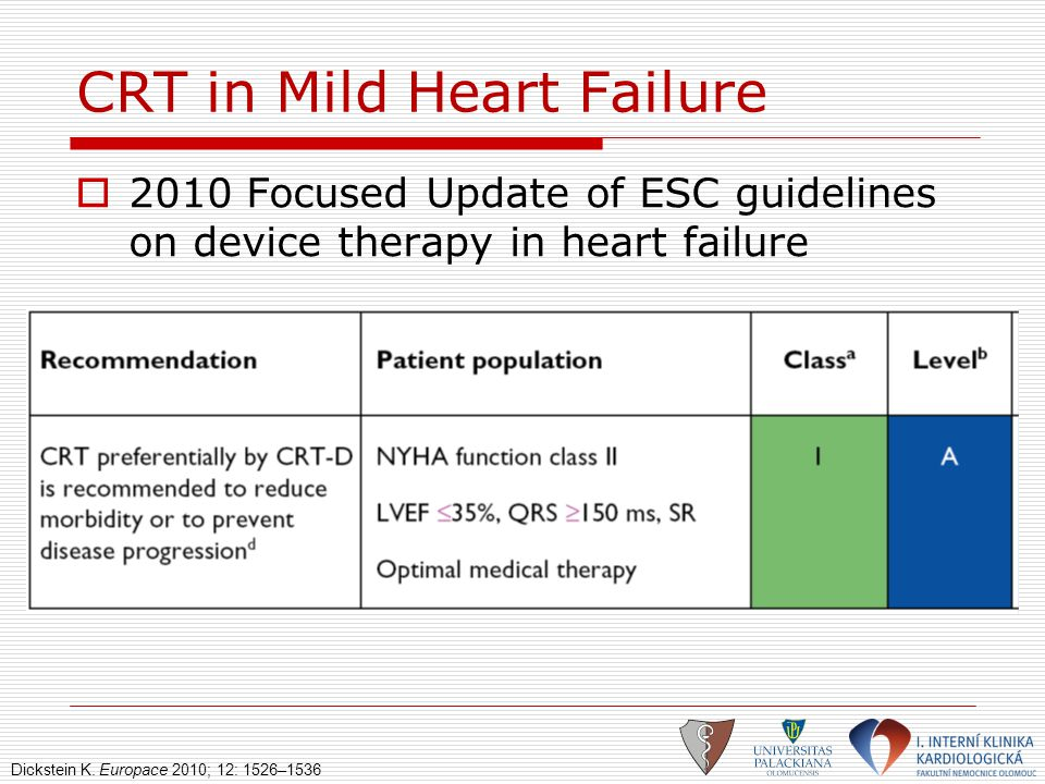 CRT in Mild Heart Failure  2010 Focused Update of ESC guidelines on device therapy in heart failure Dickstein K. Europace 2010; 12: 1526–1536