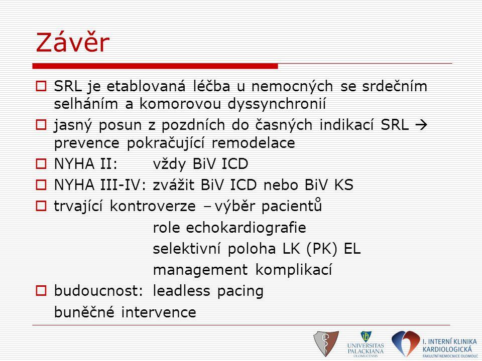 Závěr  SRL je etablovaná léčba u nemocných se srdečním selháním a komorovou dyssynchronií  jasný posun z pozdních do časných indikací SRL  prevence